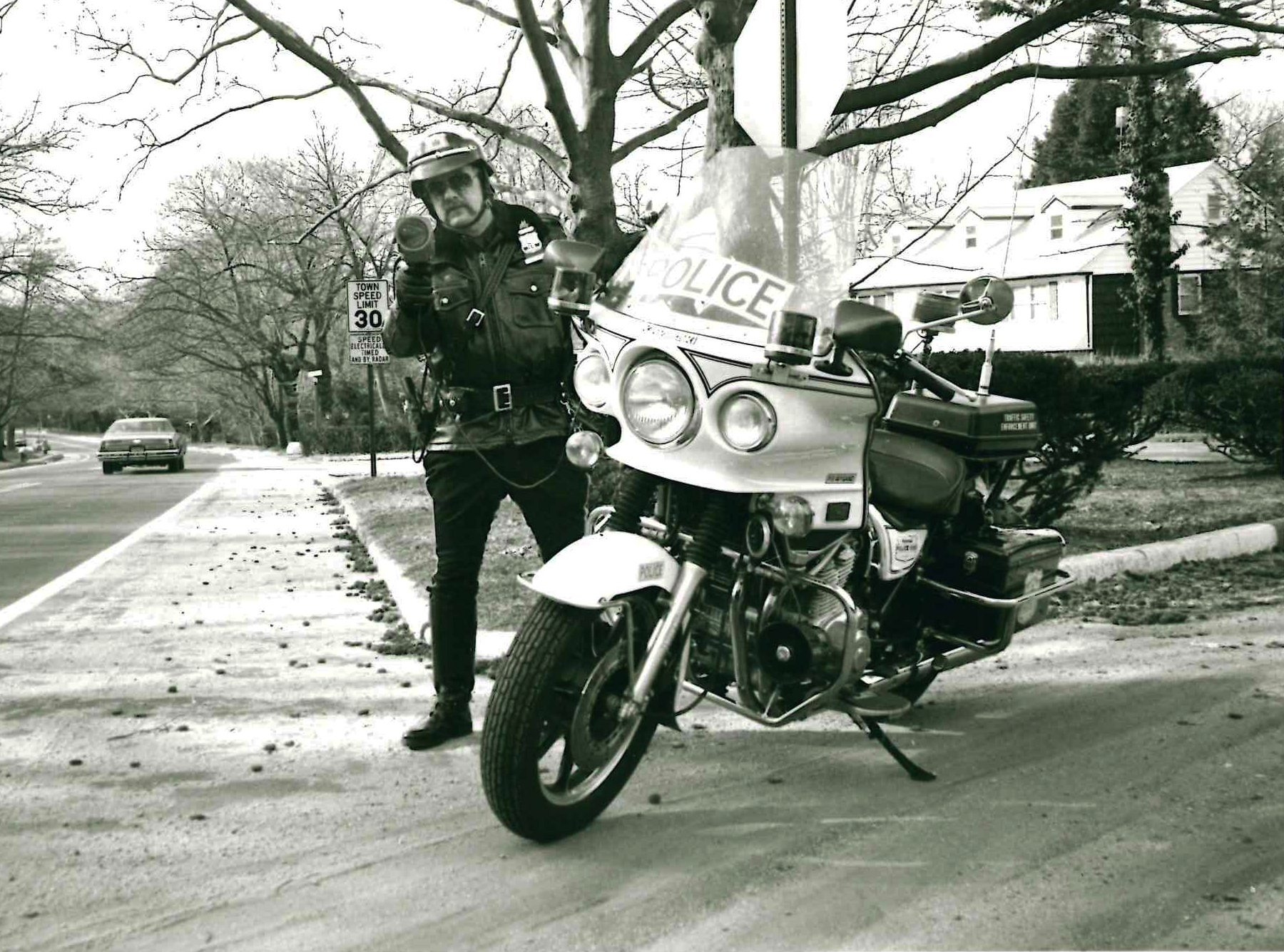 P.O. Lewis Wygand enforcing the speed limit on Beacon Hill Rd. Wygand faithfully served the PWPD from 1967-1990