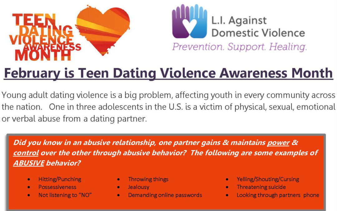 February is Teen Dating Violence Awareness Month (TDVAM)