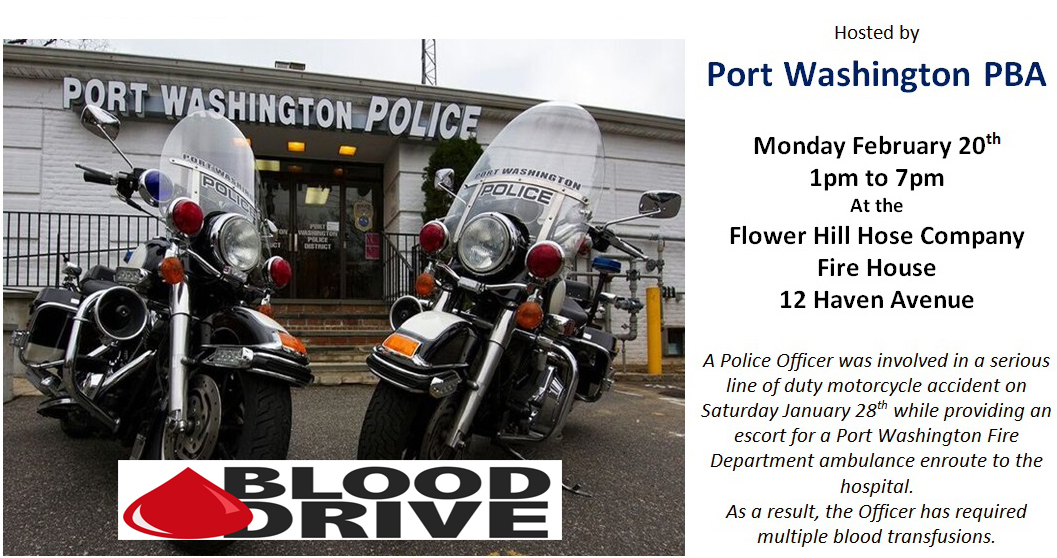 Blood Drive – Hosted by the Port Washington PBA